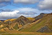 Beautiful And Colorful Mountain Landscape In Landmannalaugar, Iceland. Travel And Scenic Places To H poster
