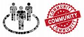 Mosaic Community And Corroded Stamp Seal With Community Phrase. Mosaic Vector Is Composed With Commu poster