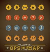 Retro GPS and MAP Icon Set. Vector Illustration.