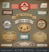 Vintage And Retro Design Elements. Useful design elements: old papers, labels in retro and vintage s