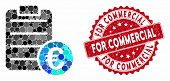 Mosaic Euro Pad And Rubber Stamp Seal With For Commercial Caption. Mosaic Vector Is Created With Eur poster