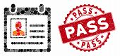 Mosaic Personal Badge And Rubber Stamp Seal With Pass Text. Mosaic Vector Is Created With Personal B poster