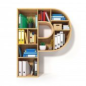 Letter P. Alphabet in the form of shelves with file folder, binders and books isolated on white. Arc poster
