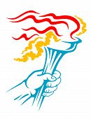 image of torchlight  - Flaming torch in hand for sports or freedom concept design - JPG