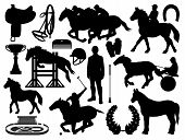 Equestrian Sport And Horse Riding Icons Isolated. Vector Horseshoe, Whip And Helmet, Polo Jockey And poster