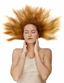 Charming Girl With Closed Eyes And Loose Red Hair Isolated On A White Background poster