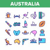 Australia Country Nation Cultural Icons Set Vector Thin Line. Crocodile And Kangaroo, Koala And Parr poster