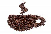 Tasse Kaffee Bohnen.