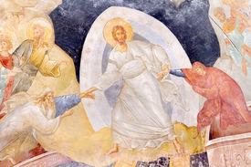 stock photo of adam eve  - Ancient Painting Anastasis  - JPG