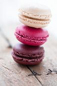 Macaroons On Wooden Table