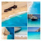 Navaggio Beach Collage, Zakynthos Island, Greece