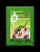 Poland - Circa 1978, Aug 19: Canceled Stamp Printed In Poland, Shows Anopheles Mosquito And Blood Ce