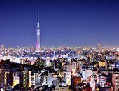 View of Tokyo Sky Tree at night.