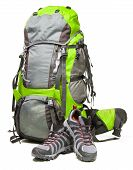stock photo of boot camp  - Hiking shoes and packed backpack on white background - JPG
