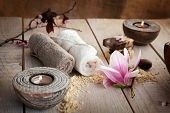 stock photo of drop oil  - Spa and wellness setting with natural soap - JPG
