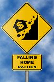 Falling Home Values Double Sign On Blue Sky