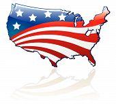 Glossy Usa Flag And Map