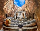 foto of chums  - Large Sitting Budha in Wat Si Chum temple in Sukhothai Thailand - JPG