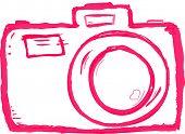 Rosa garabatear Hand drawn vector icono de cámara