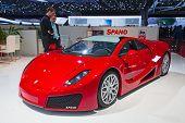 Genf - 8. März: Der Spano GTA auf dem Display bei der 81. International Motor Show Palexpo-Genf auf Ma