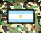 stock photo of ami  - Amy camouflage uniform with flag on it Argentina - JPG
