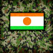 picture of ami  - Amy camouflage uniform with flag on it Niger - JPG