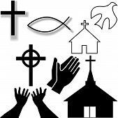 Church And Other Christian Symbol Icons Set
