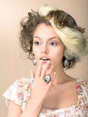Astonishment. Portrait Of Surprised Woman In Retro Dress. Daze