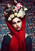 Vintage. Woman In Red Shawl And Wreath Of Roses. Retro