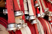 stock photo of fire-station  - Fire hoses at fire station - JPG