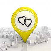 Two hearts pictorgram inside a yellow map pointer