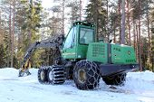 Wheeled Harvester by Forest Logging Site