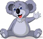 stock photo of bear cub  - Vector illustration of cute koala cartoon waving hand - JPG