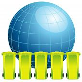 Earth globe with garbage binconcept of environment pollution