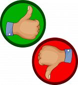 Hand gesture like unlike with thumb up icon