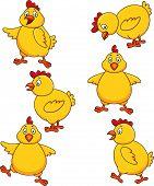 Cute chicken cartoon set