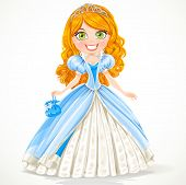 Beautiful red-haired princess in a blue ball gown and tiara