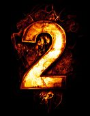 two, illustration of  number with chrome effects and red fire on black background