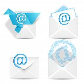 E mail concept set. Vector white envelope with email sign icon.