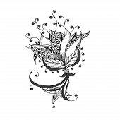 Fantasy flower, black and white tattoo pattern