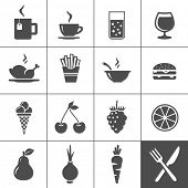 Food and drink icon set. Drinks, fastfood, fruits, vegetables. Simplus series. Vector illustration