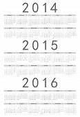 European 2014, 2015, 2016 Year Vector Calendar