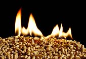 stock photo of environment-friendly  - burning wood chip pellets a renewable source of energy becoming popular as a green environmentally friendly fuel for stoves which provide household heating