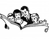 Family Reading Newspaper - Retro Clip Art Illustration