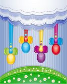 stock photo of pasqua  - Colorful scrapbook with eggs - JPG
