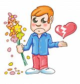stock photo of broken heart flower  - heartbroken cartoon with flower and broken heart - JPG