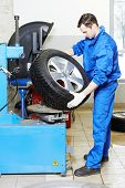 mechanic repairman installing automobile car wheel on tyre changers