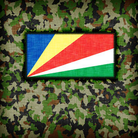 stock photo of ami  - Amy camouflage uniform with flag on it The Seychelles - JPG
