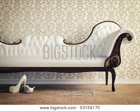 vintage sofa and wallpaper wall (retro-style illustration) poster