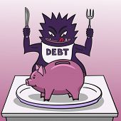 Debt and piggy bank.